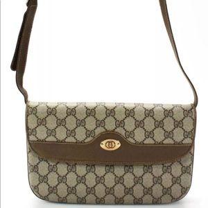 Gucci Vintage GG Monogram Leather Shoulder Handbag